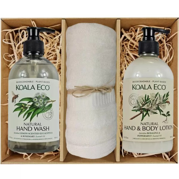 Koala Eco Hand Wash and Hand and Body Lotion with a Bamboo Hand Towel in a Gift Box