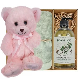 Baby Pink Teddy Bear with Koala Eco Natural Hand Sanitiser and Gum Green Bamboo Hand Towel Gift Boxed by Gloves and Sanitisers