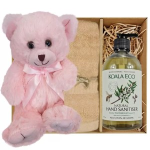 Baby Pink Teddy Bear with Koala Eco Natural Hand Sanitiser 500ml and Sandstone Bamboo Hand Towel Gift Boxed by Gloves and Sanitisers