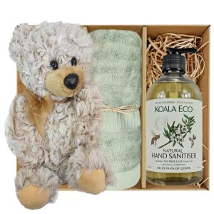 Theo Teddy Bear with Koala Eco Natural Hand Sanitiser and Gum Green Bamboo Hand Towel Gift Boxed by Gloves and Sanitisers – stock no. GBTheoHTHSGumGreen