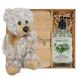 Theo Teddy Bear with Koala Eco Natural Hand Wash and Sandstone Bamboo Hand Towel Gift Boxed by Gloves and Sanitisers – stock no. GBTheoHTHWSandstone