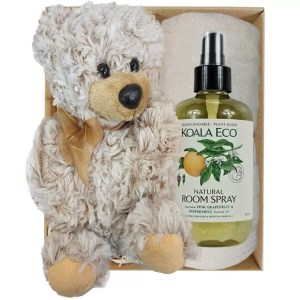 Theo Teddy Bear with Koala Eco Room Spray and Soft Cream Bamboo Hand Towel Gift Boxed by Gloves and Sanitisers