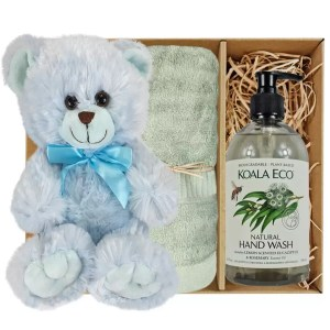 Baby Blue Teddy Bear with Koala Eco Natural Hand Wash and Gum Green Bamboo Hand Towel Gift Boxed by Gloves and Sanitisers – stock no. GBBlueHTHWGumGreen