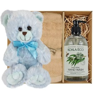 Baby Blue Teddy Bear with Koala Eco Natural Hand Wash and Sandstone Bamboo Hand Towel Gift Boxed by Gloves and Sanitisers – stock no. GBBlueHTHWSandstone