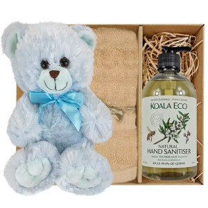 Baby Blue Teddy Bear with Koala Eco Natural Hand Sanitiser and Sandstone Bamboo Hand Towel Gift Boxed by Gloves and Sanitisers – stock no. GBBlueHTHSSandstone