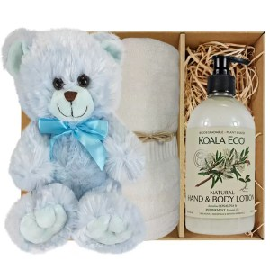 Baby Blue Teddy Bear with Koala Eco Natural Hand & Body Lotion and Soft Cream Bamboo Hand Towel Gift Boxed by Gloves and Sanitisers - stock no. GBBlueHTRBodyCream