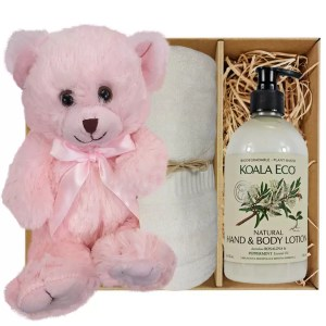 Baby Pink Teddy Bear with Koala Eco Natural Hand & Body Lotion and Soft Cream Bamboo Hand Towel Gift Boxed by Gloves and Sanitisers