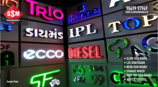 led sign board, neon sign board, acrylic letters, sign board, makers, manufacturers, led, glow sign board, in mumbai, thane, india, navi mumbai, roof top signage, signage, building. 3d box letters