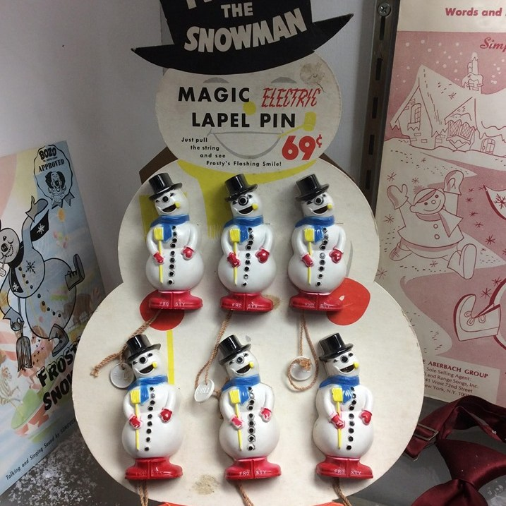 Frosty the Snowman point of sale board with Frosty pins