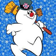 Frosty the Snowman with snowflakes