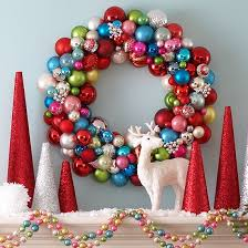 mantle christmas wreath wired ornaments