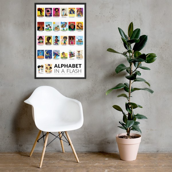 african american flash card poster framed black border flashcards abc flashcard hanging on wall picture