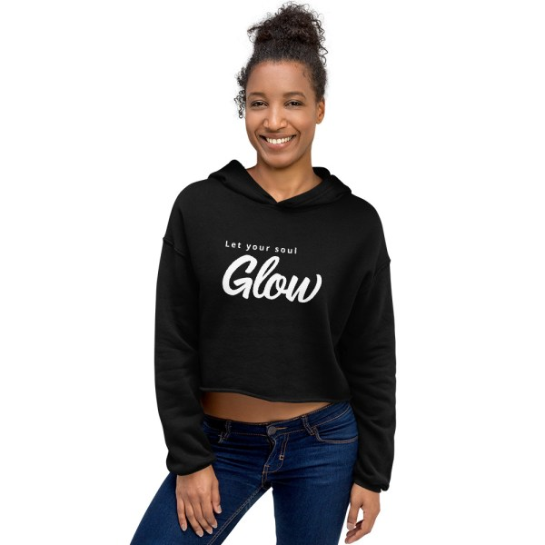 let your soul glow hoodie model pic