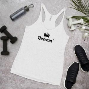 womens racerback tank top heather white gym top