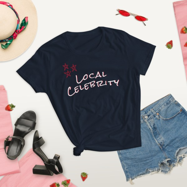 navy blue summer lifestyle local celebrity short sleeve women's cotton t-shirt classic fit tee