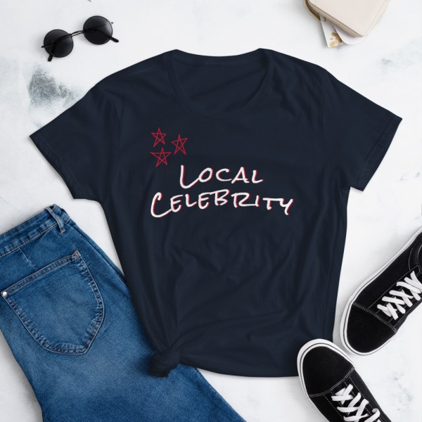 navy blue lifestyle local celebrity short sleeve women's cotton t-shirt classic fit tee
