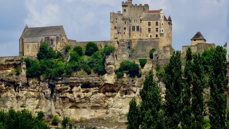 French castle high on a rocky outcrop