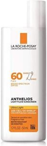 La Roche-Posay Anthelios Light Fluid Face Sunscreen Broad Spectrum SPF 60, Oxybenzone Free, Non Greasy, Non-Comedogenic, 1.7 Fl. Oz. Best sunscreen for all skin types