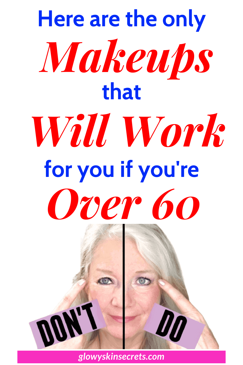 A curated list of the best makeup for 65 year old woman, best makeup for seniors, best foundation for mature skin over 60, best foundation for aging skin, best foundation for mature skin- glowyskinsecrets.com