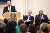 From left: Superintendent John Lavoie, Gov. Charlie Baker and City of Lawrence Mayor Dan Rivera. (Courtesy Photo Greater Lawrence Tech)