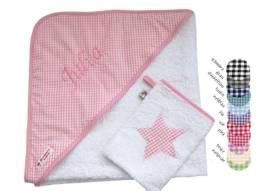 Babyhandtuch Vichy rosa bestehend aus Kapuzenhandtuch und Waschlappen