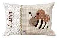 Namenskissen Biene in beige fuer Kinder