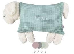 Schauen Sie Sich hier unser Kuscheltier Kissen Schaf in der Farbe mint mit gesticktem Namen an