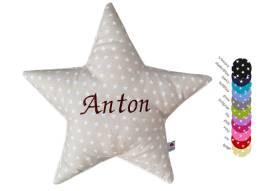 Hier unser Sternenkissen mit Namen aus Sternenstoff online bestellen