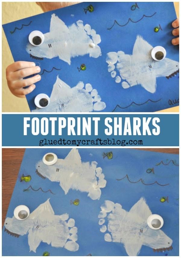 Footprint Sharks Keepsake - Kid Craft