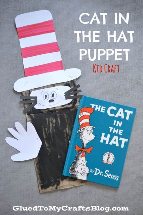 Dr Seuss Cat In The Hat Puppet {Kid Craft}