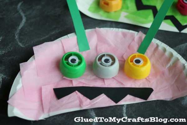 Paper Plate Recycled Lid Monster - Kid Craft