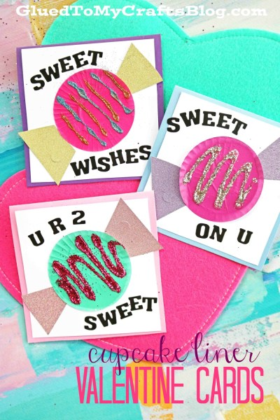 """Cupcake Liner """"Candy"""" Valentine Cards"""