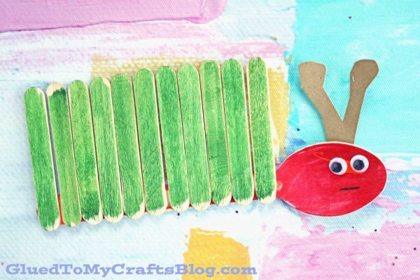 Wooden Spoon and Craft Stick Caterpillar - Kid Craft