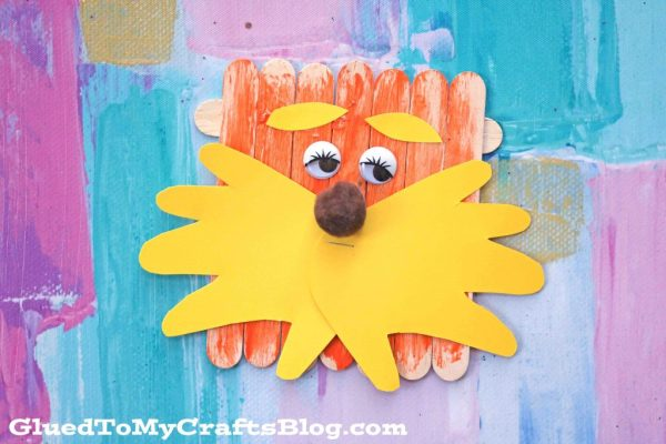 Popsicle Stick Lorax w/Handprint Beard - Kid Craft