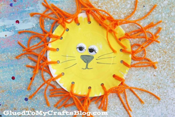 Paper Plate Yarn Lion - Kid Craft