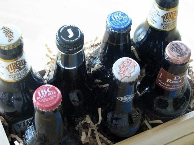 An easy DIY gift idea for Dad! A small crate filled with an assortment of root beer bottles! Can be swapped out for other varieties of soda or bottled beverages to try. Don't forget a sampler list with the names and varieties so that he can mark the ones he likes the best!