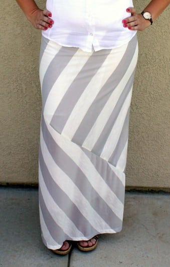 mismatched striped maxi skirt