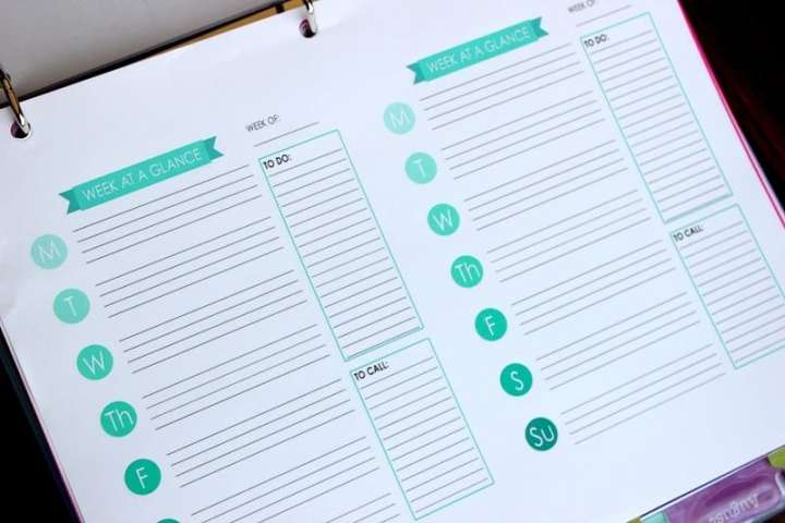 A collection of free day planner printables from around the web. Print and place in a 3 ring binder for a cute and practical way to organize your week!