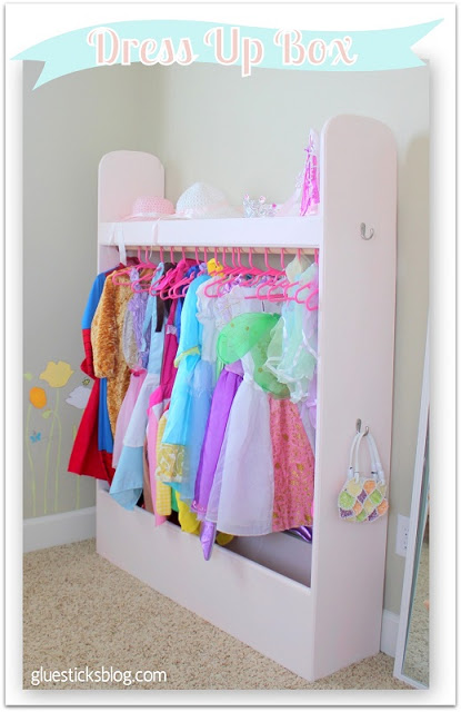 Every kid loves the fun of dressing up in play clothes to go on an adventure. This DIY dress-up box is like a mini closet that can be moved anywhere. It's sturdy and when they grow up you can use it in your mudroom for coats and shoes!