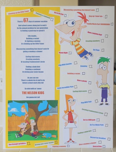 phineas and ferb summer bucket list poster