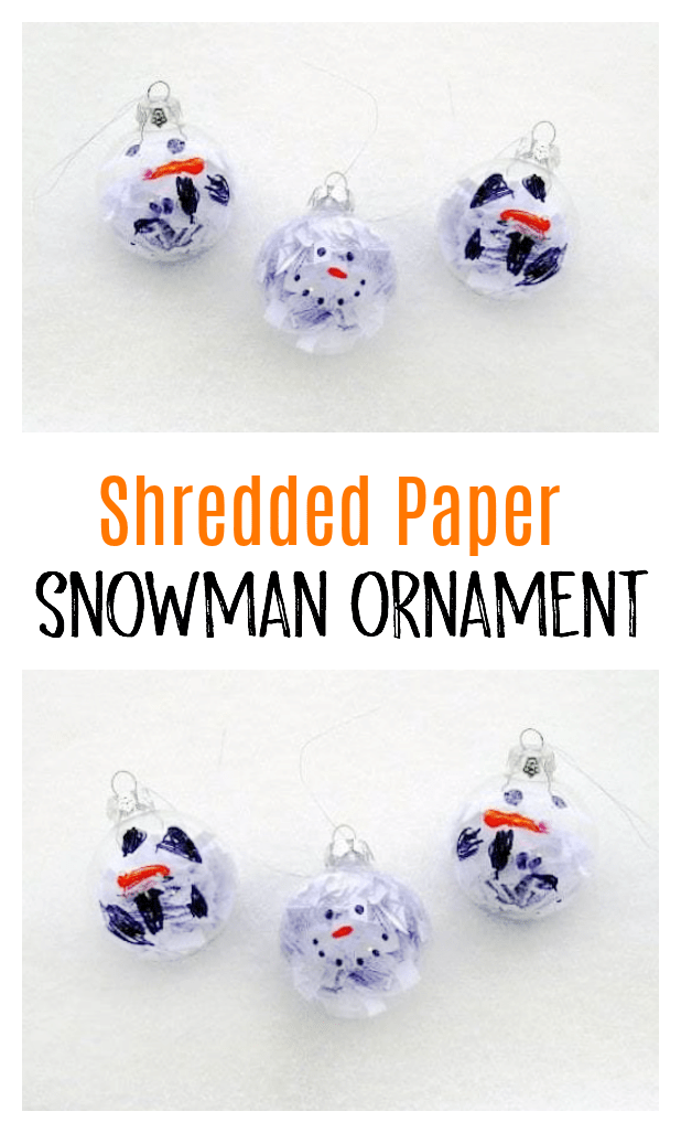 A quick and easy holiday craft for kids! This shredded paper snowman ornament comes together in under 5 minutes.