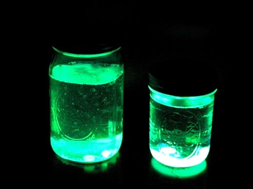 Ever wonder what would happen if your poured glow stick into a jar of water? Wonder no more! It GLOWS! These glow stick lanterns are fun to make and will last at least a day!