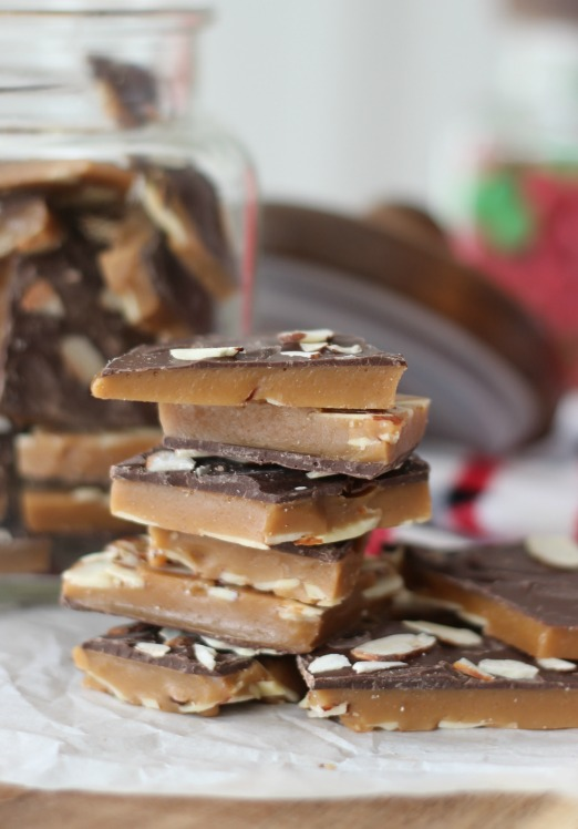 english toffee stacked on top of eachother