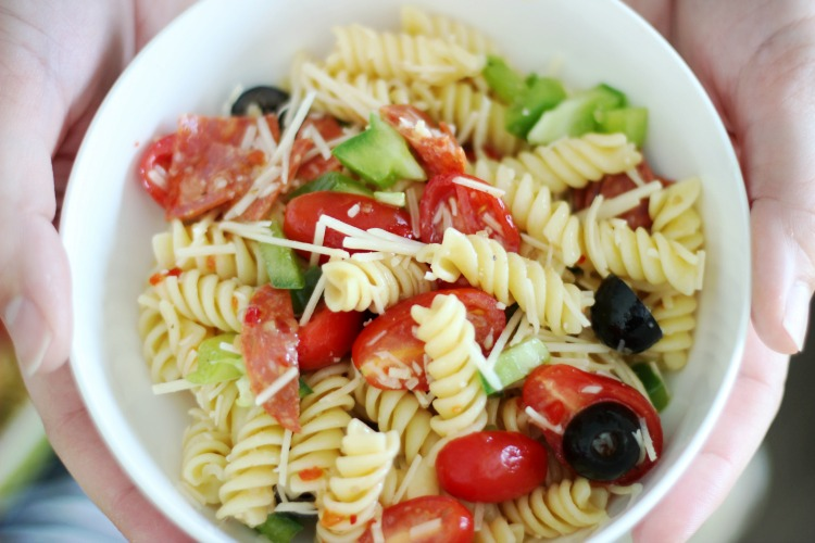 small bow of finished pasta salad