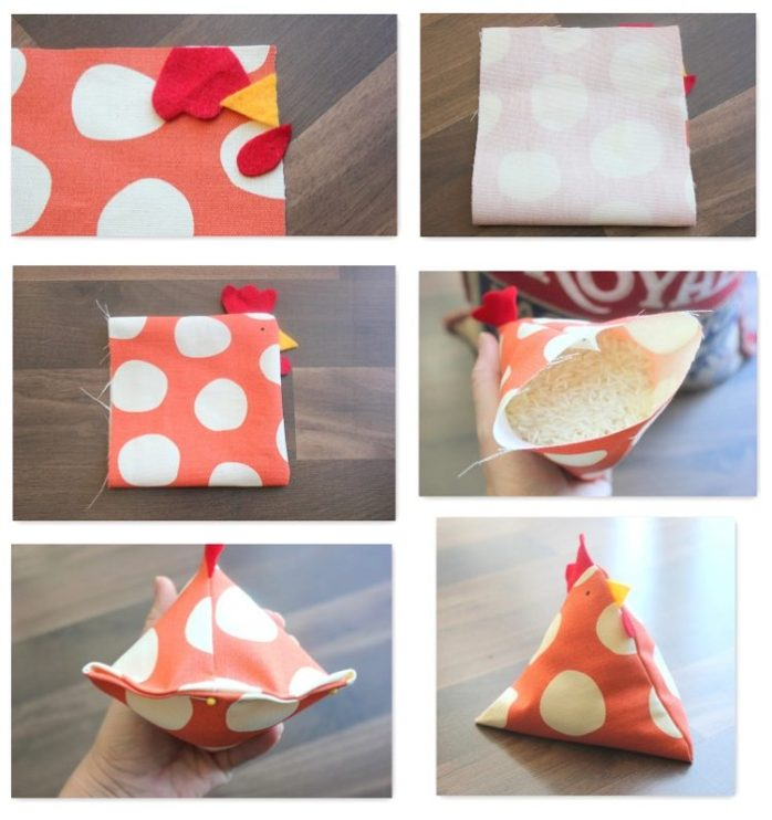 These chicken bean bags are just about the cutest things that you can make with your sewing machine. Use them as pin cushions, bean bags or even rice packs!