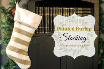 Painted Burlap Stocking