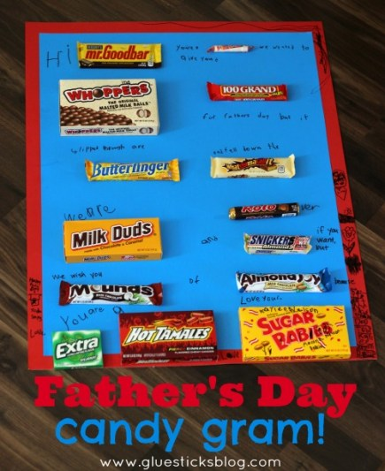Here's a fun Father's Day candy gram that the kids will love putting together for Dad! A quick and easy gift idea that is as fun to read as it is to eat!