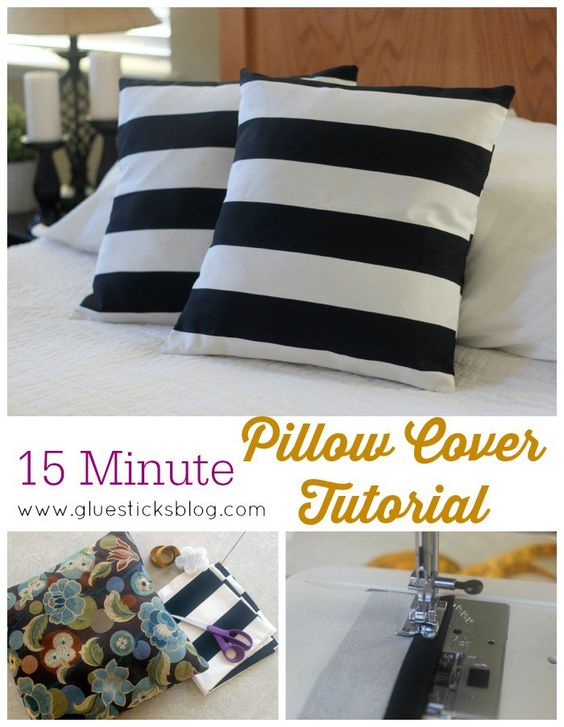 15 minute pillow cover tutorial