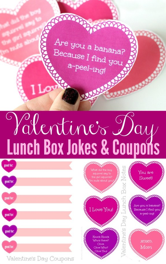 Free Valentine's Day printable cards, jokes, creative lunch ideas, printable coupons and more!