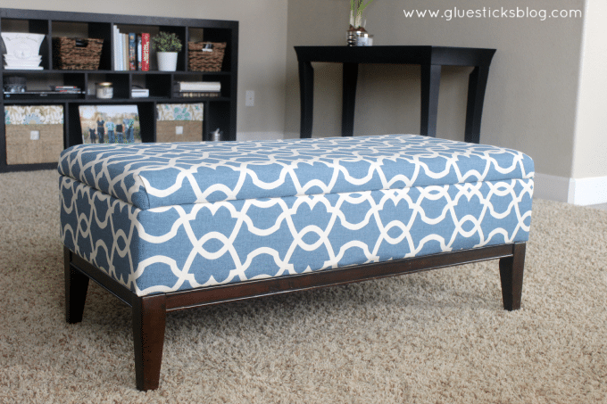 Storage Ottoman Makeover - How To Reupholster A Storage Ottoman Gluesticks